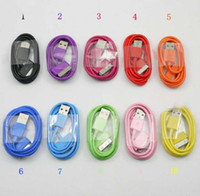 Wholesale 500pcs colorful data sync USB cable charger cable for Iphone G S ipod touch nano