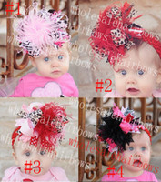 Wholesale 5 inch girls zebra print hair bows with feather hair clips hair bow satin flower baby CH0003
