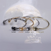 Wholesale 15pcs Gothic Jewelry Low Price Vintage Double Skull Cuff Bracelet Bangle