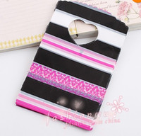 Wholesale MIC Pink Black Strip Plastic Jewelry Gift Bag X9cm