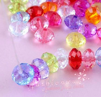 Acrylic, Plastic, Lucite plastic beads - 1000X Mix Color Plastic Transparent Faceted Rondelle Beads MM