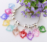 Wholesale MIC Colorful Plastic Hollow Big Hole Heart Charm Beads
