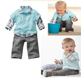 Wholesale boys blue t shirt jeans pants clothing sets boy s long sleeve shirt pant clothes set childrens
