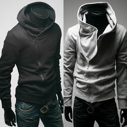 Wholesale Men Casual Zip Up Hoodie Sweat shirt Black Gray