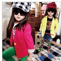Wholesale NEW kids girls coat girl jacket long sleeve western style children cool suit colorfully