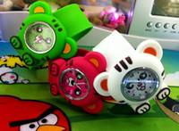 Acheter Caoutchouc pression-Belle caoutchouc animale Silicone Slap enfants snap regarder Jelly candy montres à quartz 10pcs / lot