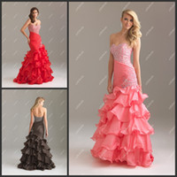 affordable modern lighting - NTM6425 Trumpet Prom Dress Pink Big Ruffles Layers Beaded Low Back Sheath Sexy Affordable Long Dress
