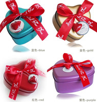Wholesale Wedding Favors Tin Candy Box Ribbon Gift Tin Can heart Shape Candy Boxes Wedding favors Gifts
