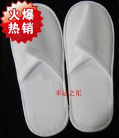 Wholesale disposable Slippers one time hotel family travel white no word soft flax plush