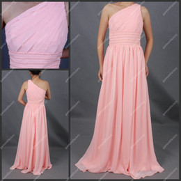 Wholesale 1 Day Delivery Matron of Honor Dress One Shoulder Coral Chiffon Crystal Beaded Long Bridesmaid Dress