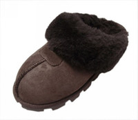 Wholesale Winter warm slippers head wrapped choclolate Super A sheepskin wool one antiskid sole