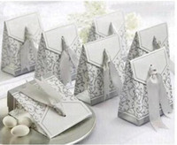 Wholesale Ribbon Wedding Favor Candy Boxes Silver Wedding Party Gift Box Colors