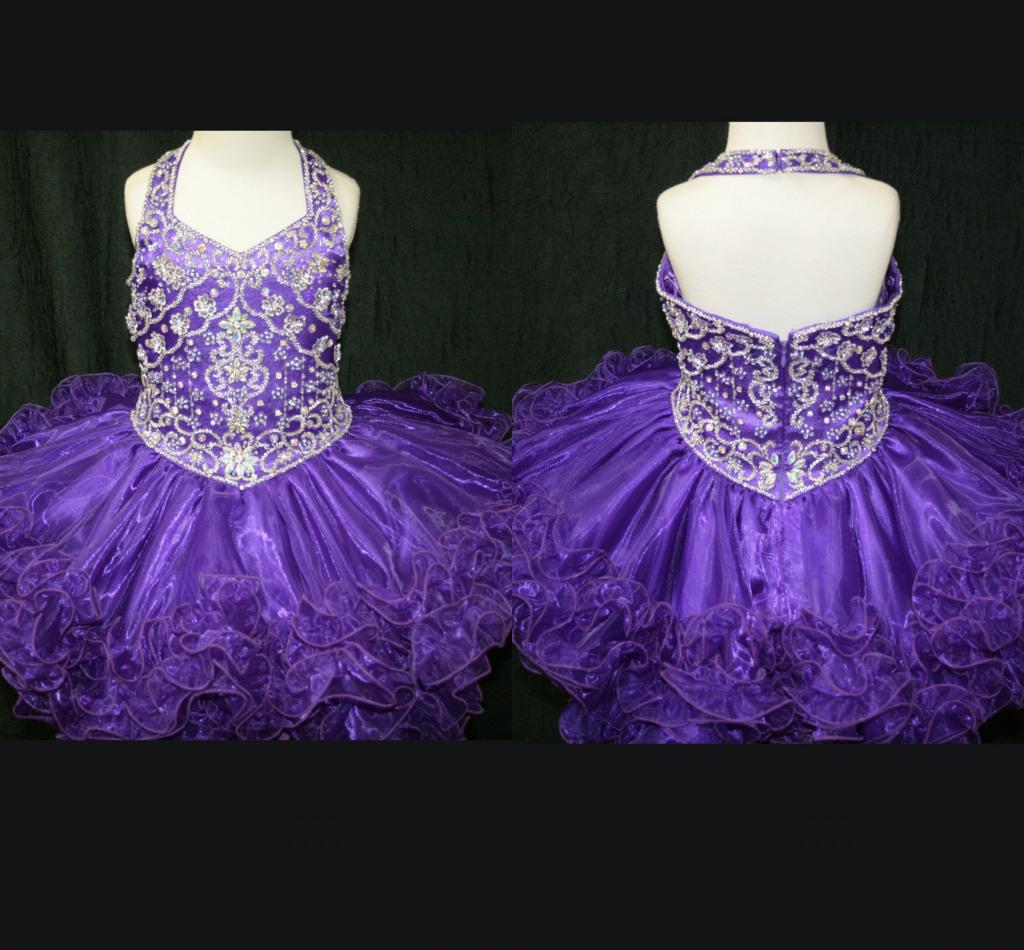 Beautiful Halter Purple Beaded Flower Girl Dresses Toddlers ...
