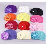Wholesale Baby Hat Newborn Flower Crochet Hat Reborn hat Infant Beanie Children Cap