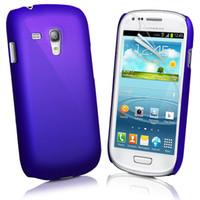 achat en gros de caoutchouc pression-50pcs caoutchouc Snap-on Hard Cover affaire + 50pcs protection d'écran pour Samsung Galaxy S3 mini- I8190