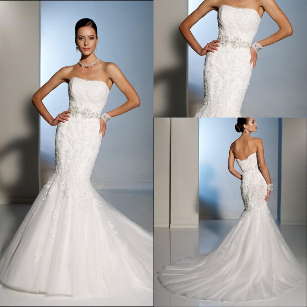 2013 New Style y Strapless Mermaid Ruffles Lace Bridal