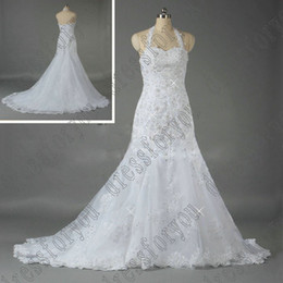 Wholesale Real Pictures Sparkly Beaded Fit and Flare Halter Top sheath Lace Bridal Dresses Wedding Gown