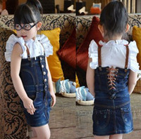 Wholesale Girls White Ruffle Shirt Spaghetti strap Jean Skirt amp Kids Falbala Dress Denim skirt