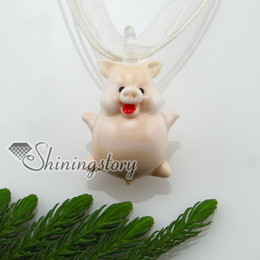Wholesale pig lampwork murano Italian venetian handmade glass necklaces with pendants cheap china fashion jewelery mup123