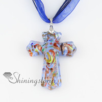 Wholesale cross Christan glitter lampwork murano Italian venetian handmade glass necklaces with pendants