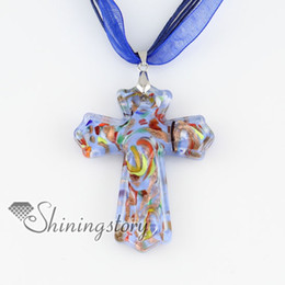 cross Christan glitter lampwork murano Italian venetian handmade glass necklaces with pendants handmade fashion jewelry MUP127