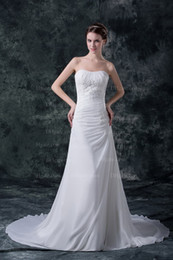 Wholesale 2013 New Arrival Chipper Fall White Mermaid Sweetheart Applique Sequin Chiffon Simple Wedding Dress