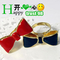 Wholesale Goldec Bow Tie Ring lovely The Girl rings charm gift cheap costume Fashion Jewelry hot women Ring