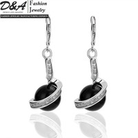 Wholesale High Quality New Fashion Jewelry K White Gold Plated Black Pearl Austrian Crystal Earring EH255