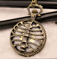 Wholesale 12pcs Vintage Steampunk Punk Backbone Pocket Watch Necklace WE114