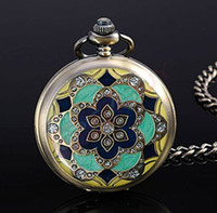 Antique art deco watch - 12 Art Deco Vine Bronze Flower Pocket Watch Necklace WN061