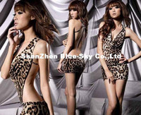 Wholesale Sexy costume Leopard Women Lingerie Backless Club Mini Dress top clubwear
