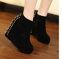 Wholesale The new Ankle boots suede boots wedge snow boots with rivet female boots Martin shoes