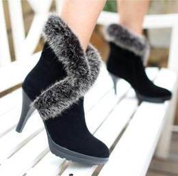 Wholesale Autumn and winter martin ultra high heels rabbit fur female shoes ankle length winter boots