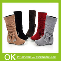 Wholesale Big size US New lovely Style BIG Biwte Rhinestone Mid Calf Faux suede boots Flat