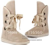 Women best ladies snow boots - Best selling Winter woolen lace up snow women boots shoes ladies pair
