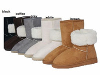 Wholesale New arrival Very cheaper fashion winter warm flat heels solid snow boots white gray black brown coff
