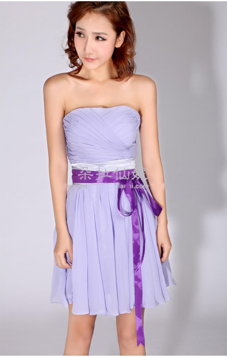 Elegant New Strapless Lavender Short/Mini Bridesmaid Dresses ...