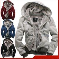 Wholesale 2012 New plush thick warm Men s Hoodies amp Sweatshirts winter Jacket Coat overcoat Size M L XL XXL
