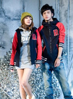 Unisex wholesale sports jackets - Hoodie baseball uniform mixed colors the R letters couple baseball uniform jacket sweater coat