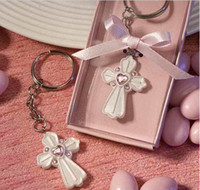 Wholesale Religious cross design Keychain Key chain Ring Bridal Shower party wedding favor gift