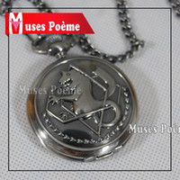 Wholesale New silver tone Fullmetal Alchemist Pocket Watch Cosplay Edward Elric Anime Gift