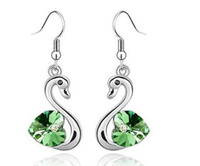 Wholesale Swarovski Crystal Earrings For Women Elegant Swan Diamond Earring Colors Mix Christmas Jewelry