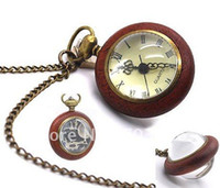 Wholesale 10pcs Punk Style Bronze Wood Ball Pocket Watch Pendent Necklaces