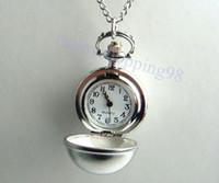 Quartz antique copper finish - retail Vine Copper Bronze Silver Mill Finish Sphere Pocket Watch Necklace Pendant H18