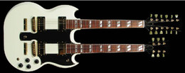 Wholesale best china guitar Custom Shop Double Neck Alpine White Electric Guitar By Spring OEM Music