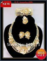 Wholesale Hot Sale Luxury Jewelry High Quality Gold Plated Bridal Dress Wedding Jewelry Set
