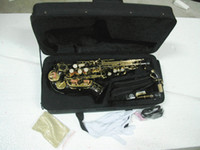 Wholesale NEW Black Nickel Woodwind Brass black Soprano Saxophone free case Very beautiful