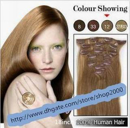 Wholesale 20 quot set clip in hair remy human hair extensions hair extension g set set KZF201
