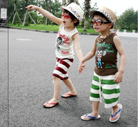 Wholesale children clothes summer boys cute monkey vest shorts stripes suit kids sets set dandys