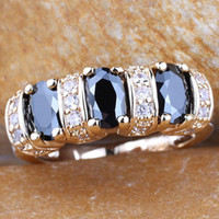 Women's Anniversary 8 3-stone Oval Black Onyx Women Cocktail Ring Size 8 Gold Filled Jewelry GF J7508